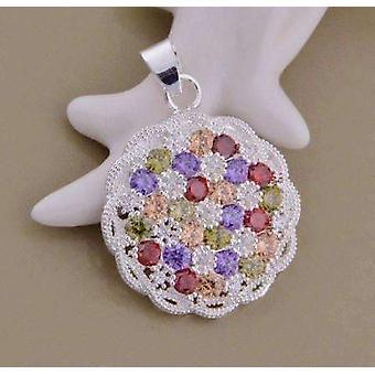 Basket weave multi color cz crystal medallion necklace silver