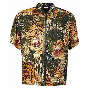 Dsquared2 Tiger Bambus trykt Zip skjorte