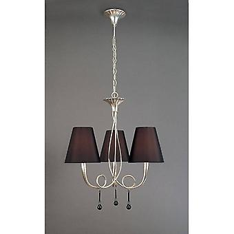 Paola Pendant Lamp 3 Bulbs E14, Silver Painted With Black Lampshades & Black Glass Droplets