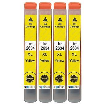 4 gule blekkpatroner for å erstatte Epson T2634 (26XL-serien) Kompatibel/ikke-OEM fra Go-blekk