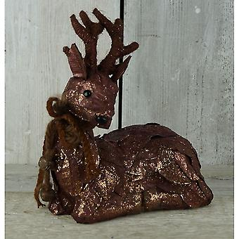 Copper Sitting Reindeer Ornament