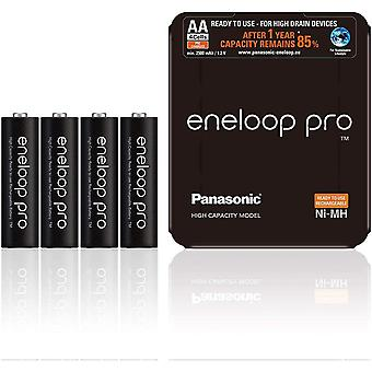 Panasonic eneloop Pro AA Rechargeable Ready-To-Use Ni-MH Batteries, Pack of 4 (BK-3HCDE/4LE)