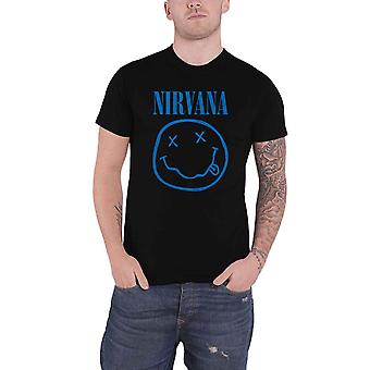 Nirvana T Shirt Blue Smile Band Logo new Official Mens Black