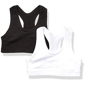 Essentials Girl's 2-Pack Active Sports Bra, White/Black, S (6/7)