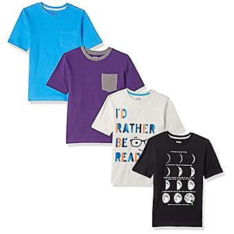 Brand - Spotted Zebra Boys' Big Kid 4-Pack Short-Sleeve T-Shirts, Book...