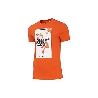 4F TSM029 H4L20TSM029POMARACZOWY universal all year men t-shirt