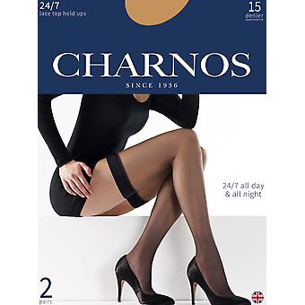 Charnos 24/7 15 Denier Lace Top Hold Ups 2 Pair Pack