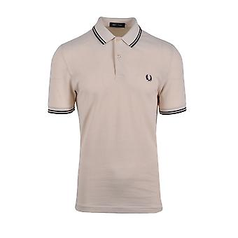 Fred Perry Twin Getipt Polo Shirt Vanilla / witte Oxford / mahonie