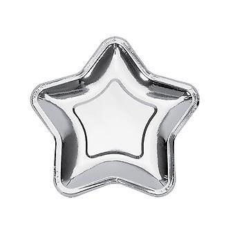 20PCS Pentagram Disposable Paper Plates Party Decor Silver