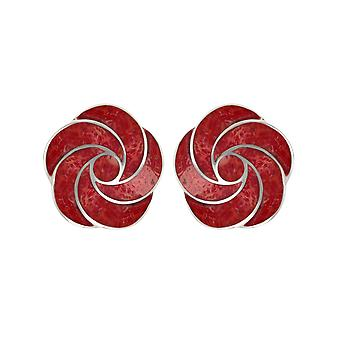 ADEN 925 Sterling Silver Coral Flower Earrings (id 2648)