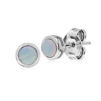 Classic Round Opal Bezel Stud Earrings in 925 Sterling Silver 270E025811925