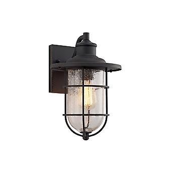 Luminosa Lighting - Lampa ścienna, 1 x E27, Czarny, Złoty z wysiewem przezroczystego szkła, IP54