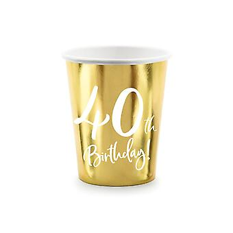 40th Birthday Gold Paper Party Cups Decorations x 6