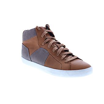 Geox U Smart A Mens Brown Leather Lace Up Euro Sneakers Shoes