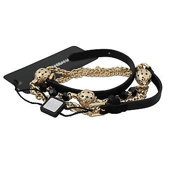 Black leather gold brass crystal waist belt
