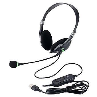 Náhlavní souprava USB s mikrofonem s potlačením šumu lehká kabelová sluchátka