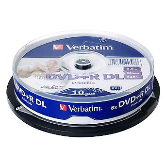 Verbatim Dvd Rdl 8.5gb 8x husillo imprimible disco multimedia grabable doble doble doble