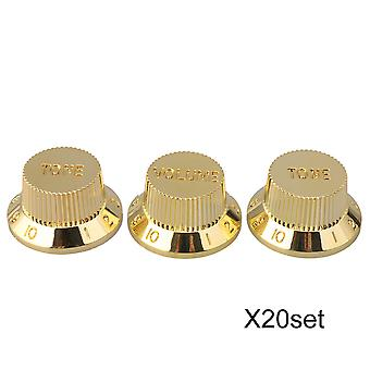 20 Packs Gold Electric Guitar Top Hat 1 Volume 2 Tone Speed Control Knob