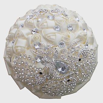 Ivory Silk Rose Wedding Flowers, Bridal Bouquets Artificial Foam Bouquet