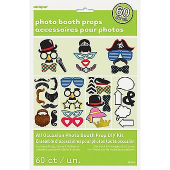 Unique Party Assorted 60 Pack Photo Booth Props Kit