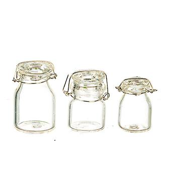 Dolls House Clip Top Glass Canister Set Storage Jars Shop Cafe Accessorio da cucina