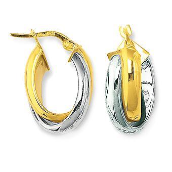 14K geel en wit goud ronde vorm twee Toon dubbele rij Hoop Earrings Hoop Earrings