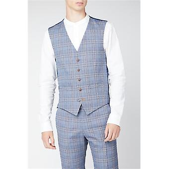 Light Blue Tweed Check Suit Waistcoat