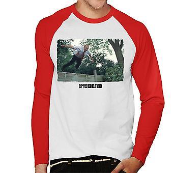 Shaun of the Dead Jumping Over Fence Men's Baseball Long Sleeved T-Shirt