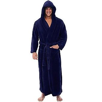 Flannel Robe Male With Hooded Thick Warm Gown Men's Bathrobe Winter Extra Long