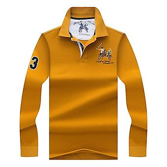 Solid Color 3d Embroidery Polo Shirt, Casual Polo Shirts, Men's Long Sleeve