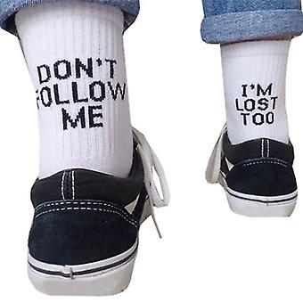Unisex Word Letter Print Cotton Long Crew Socks