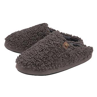 Dunlop Mens Ross Cosy Mule Slippers  - Charcoal