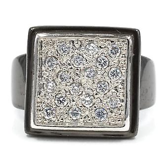 Gunmetal Finish Large Square Pave Set Ring