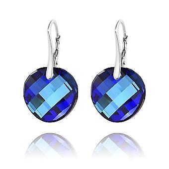 Zilveren ronde blauwe oorbellen