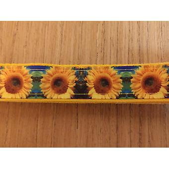 Leash/ Large/  Blue & Green Sunflowers