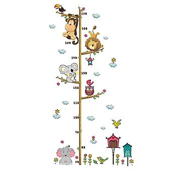 Cartoon Animals Lion Monkey Owl Elephant Height Measure Wall Sticker Rooms (1