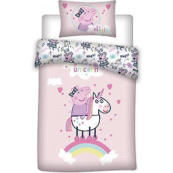 تغطية بيبا الخنزير 140 × 200 سم الوردي / الأبيض