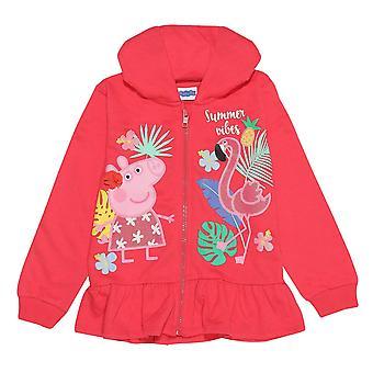 Peppa Gris Piger Flamingo Fuld Zip Hættetrøje