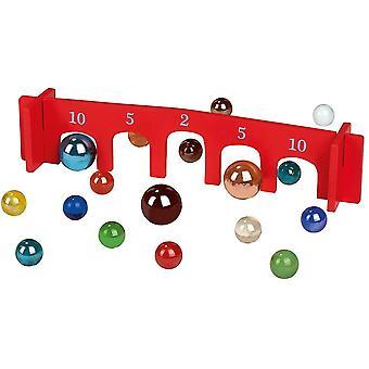 FengChun 38064 Klassisches Murmelspiel | Spieleklassiker mit 26 Glasmurmeln und einem Holzbogen,