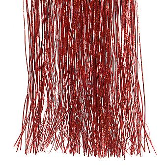 LAST FEW - 50cm Embossed Holographic Red Foil Lametta Tinsel For Christmas Decoration