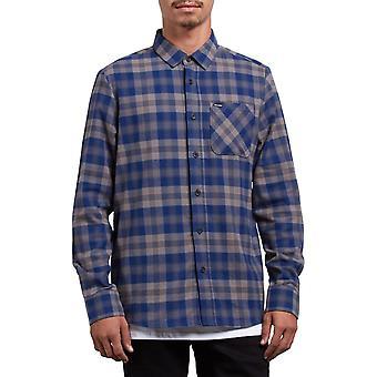 Volcom Caden camisa de manga larga a cuadros en azul maduro