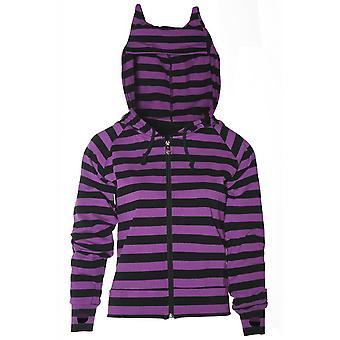 Banned Apparel Cat Ears Purple & Black Striped Zip Hoodie
