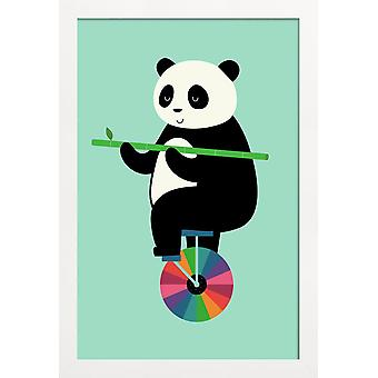 JUNIQE Print - Learn To Balance Your Life - Pandas Poster in Colorful & Green