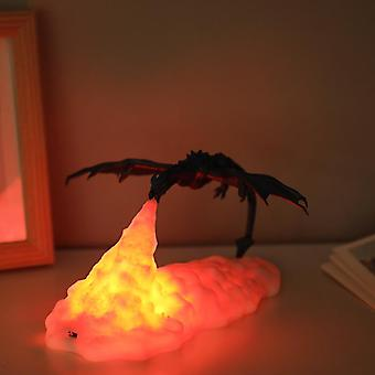 3D Printed LED Dragon Lamp Warm Red Anime Figure Children's Table Night Light Interior For Home