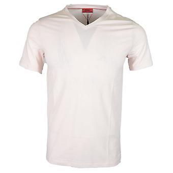 Hugo Boss Dandre Cotton Plain Light Pink V-neck T-shirt