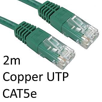 RJ45 (M) bis RJ45 (M) CAT5e 2m Grün OEM geformtboot Kupfer UTP Netzwerkkabel