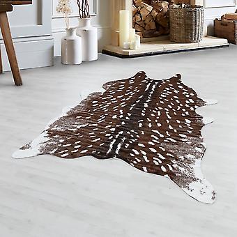 Fendell Deer Imitation Fur Animal Fur Motif Washable Non-Slip Soft Brown Cream