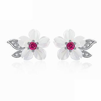 Ear Studs Fritillary Flower Niche Bells Of Ireland S925 Silver Stud Earrings For Ceremony
