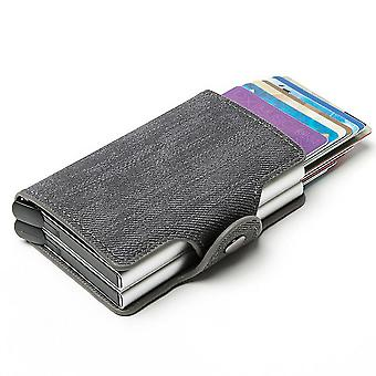 Aluminiumlegierung Kartentasche, automatische elastische Karte RFID Metall Kartenbox (Blau)