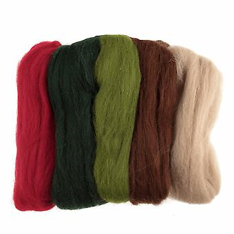 Natural Wool Roving, 50g - Christmas Colours